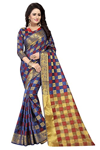 [Sponsored]SATYAM WEAVES WOMEN'S ETHNIC WEAR JARI BORDERED KANJIVARAM COTTON SILK NAVY BLUE COLOUR SAREE