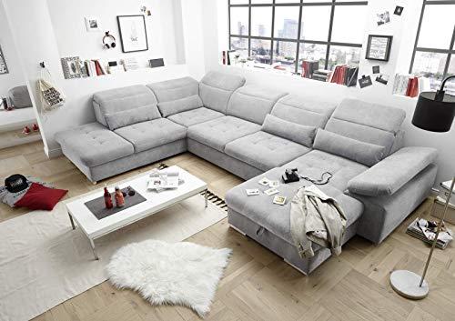 lifestyle4living Wohnlandschaft in Hellgrau, mit Sitztiefenverstellung, Schlaffunktion, Bettkasten und Armteilverstellung, Maße: B/H/T ca. 394/80/260 cm