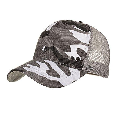 Camouflage Sommer Cap Mesh Hüte für Männer Frauen Casual Hüte Hip Hop Baseball Caps verstellbar (Grau) (Indiana Jones Hut Für Kinder)