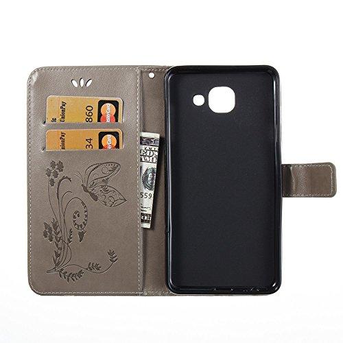 Solid Color Faux Leder Bookstyle Brieftasche Stand Case mit geprägten Blumen & Lanyard & Card Slots für Samsung Galaxy J7 MAX ( Color : Black ) Gray