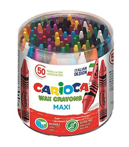 Carioca 42388 - jumbo confezione pastello cera 50 maxi pastelli, colorati