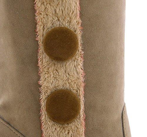AllhqFashion Damen Mitte-Spitze Ziehen Auf Mittler Absatz Stiefel mit Knoten Aprikosen Farbe