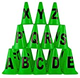SAHNI SPORTS Plastic Training Alphabet Cone Markers 9 inch (A-Z) Pack of 26, Multi-Color