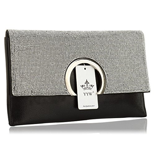 YYW  Evening Bag, Damen Clutch Schwarz