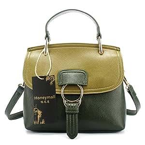 Honeymall Damen Welle Paket Leder Vintage Umhängetasche Handtasche Designer Tasche Mini Schulter Messenger Grün