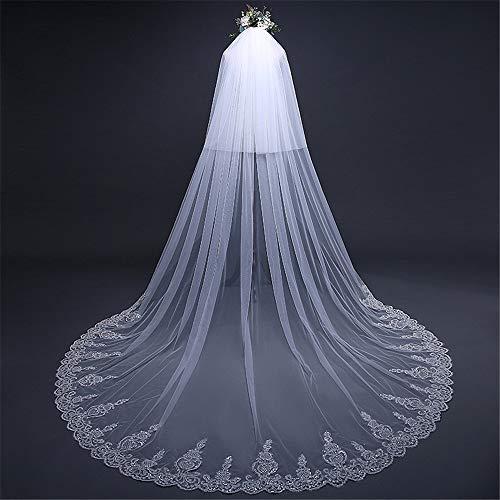 Veli da sposa da sposa accessori per capelli con bordo in pizzo e pettine in metallo (avorio) velo da sposa in pizzo cattedrale (colore : c2)