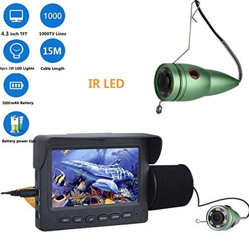 """J.W. Fish Finder Unterwasserkamera, 4,3\""""Zoll 1000tvl Angeln Videokamera Kit mit Sensor, 6 STÜCKE IR LED HD Nachtsichtdetektor Für EIS, See, Bootsfischen,Infraredlight15m"""