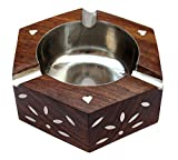#5: ITOS365 Handmade Wooden Ashtray Hexagon for Home Office Car Gifts