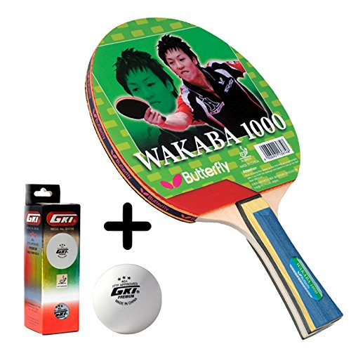 Butterfly Wakaba 1000 Table Tennis Combo (Butterfly Wakaba 1000 Table Tennis Bat + GKI Premium 3 Star 40 Table Tennis Ball, Box of 3 - White)  available at amazon for Rs.1679