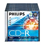 Philips CD-R Rohlinge (700 MB Data/80 Minuten, 52x High Speed Aufnahme, 10er Slim Case)