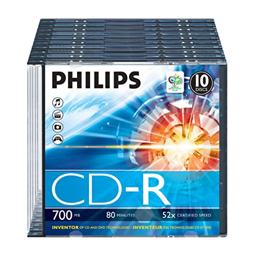Philips CD-R Rohlinge (700 MB Data/ 80 Minuten, 52x High Speed Aufnahme, 10er Slim Case)