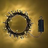 Lights4fun 100er LED Lichterkette warmweiß grünes Kabel Innen Außen mit Timer