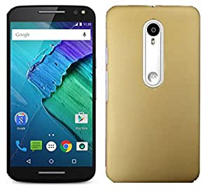 Unistuff ( TM ) Matte Hard Case Back Cover for Motorola Moto X Play (Gold)