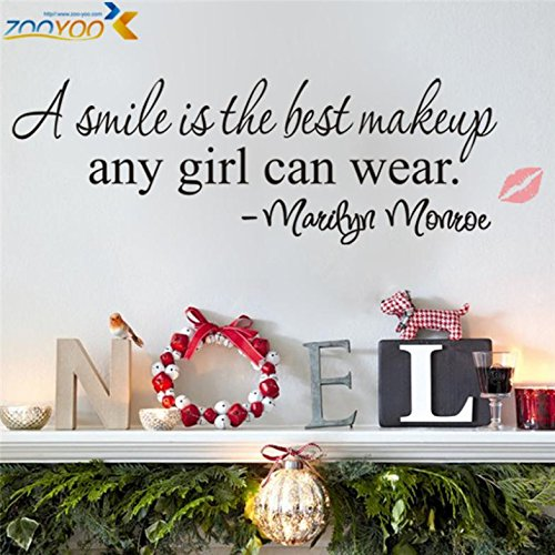 r A Smile Is The Best Makeup Home Decor Creative Wall Decals Decorative Removable Vinyl Wall Stickers ()