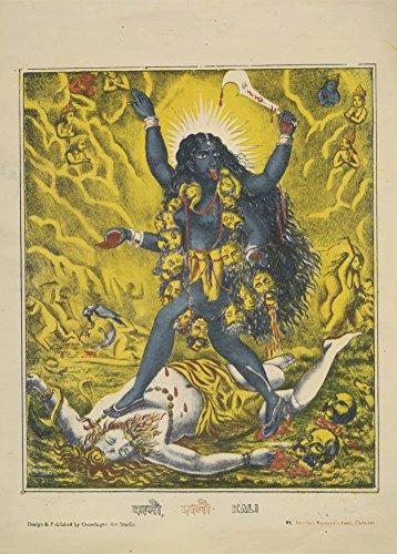"""Indische Kunst """"Göttin Kali auf dem Schlachtfeld, schritt über einen Liegerad Shiva"""" circa 1895. 250 g/m², glänzend, Kunstdruck, A3, Reproduktion"""
