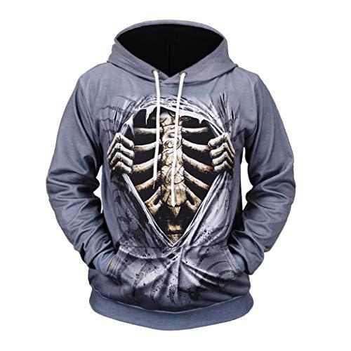 PPangUDing Halloween Sweatshirt Herren Hoodie 3D Skull Printed Kapuzenpullover Casual Stranger Things Pullover Mit Kapuze Sweater Langarm Mantel Sport Sweatjacke Baggy Pulli (M, Grau) -