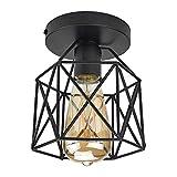 STOEX Retro Plafonnier Industrielle en Métal Carré Fer, Suspension Cage Cube Luminaire E27 pour Salon Chambre Café Bar Restaurent Entrée Couloir (Noir)