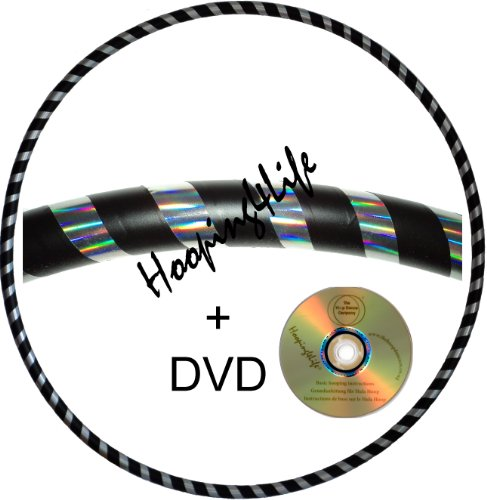 hooping4life-silver-rainbow-black-medium-40-weighted-625g-exercise-dance-hoop-with-instructional-dvd