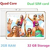 10 Inch 3G Phablet Quad Core 32GB ROM 2GB RAM Call Phone Android 6.0 Lollipop Tablet PC, Unlocked Dual Sim Card Slots, Bluetooth, GPS, WIFI, Resolution 1280X800 display IPS Screen TYD-107 -White