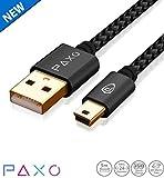 5m Nylon Mini USB Kabel Schwarz, USB auf Mini USB Ladekabel, Goldstecker, geflochtenes Kabel (Braided), mit Kabelklett
