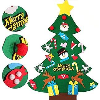 Amacoam Arbol Navidad Fieltro DIY Arbol de Navidad Fieltro Decoración Colgante de Pared Niños Adornos Extraíbles para Niños Decoraciones de Navidad Año Nuevo Navidad Regalo