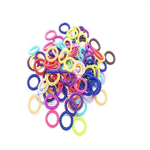 Shuny 60 pezzi anello per capelli,spirale,elastici e fermacoda di supporto a coda di cavallo elastico a spirale,elastici colorati ad anello pompon,in gomma