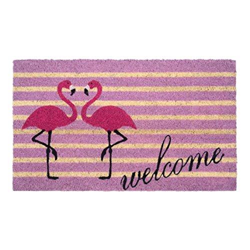 Schmutzfangmatte / Fußmatte / Fussmatte / Fußabstreifer / Fußabtreter / Kokos / Kokosmatte / Schmutzmatte Modell – Flamingo – welcome – Größe : 45 x 75 cm
