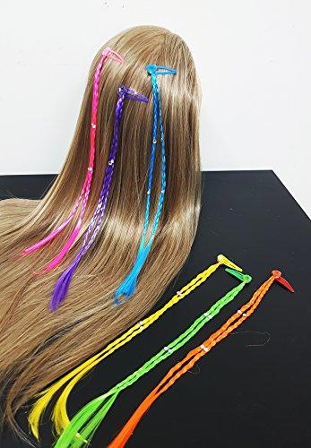 Takestop® set 12 pezzi treccia trecce colorate glitter fiore treccine fascia clip extension lunga 30cm ferma capelli colore casuale