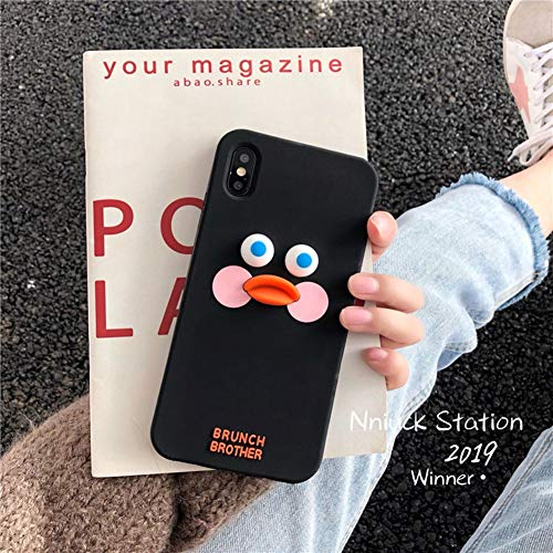 VIWIV FüR iPhone Case Xs Max Cute Silicone Duck Scrub Soft Shell Apple Xr Case Personality 6 6S 7 8 Plus Mobile Shell Wear All Inclusive,Black,iPhoneXR -