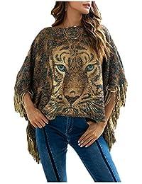 Pulóver Irregular con Borla Y Estampado De Tigre Capa Poncho para Mujer