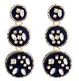 Weekendy Un semplice e classico Orecchini moda femminile orecchini a più strati di flanella (Deep Blue)