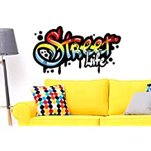 "I-love-Wandtattoo WAS-10482 Youth Room Wall Sticker ""Street Life in graffiti style"" Wall tattoo in multicolored to glue wall art Hip Hop Streetdesign Wall tattoo Wall sticker Sticker wall decoration XXL"