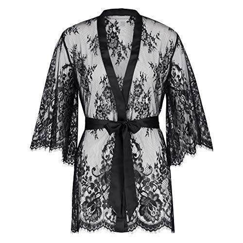 HUNKEMÖLLER Damen Kimono Lace Isabelle Schwarz M/L