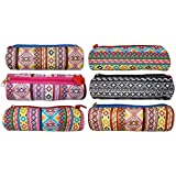 Kotak Sales® Multicolor Design Stationary Storage Pouch Pen Pencil Compass Kids Companion For School Activities Birthday Party Return Gift Outer Side Zip Lock. (Set Of 06 Pcs)