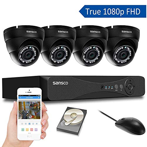 [TRUE 1080p] SANSCO 4 Channel FHD CCTV Camera System with 4 2 Mega-pixel  Indoor Outdoor Dome Cameras and 1TB Internal Hard Drive (2M