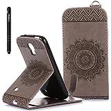 Slynmax Mandala Flip Tasche Slynmax Hülle Kompatibel mit Samsung Galaxy S4 Mini i9190 Hülle Weich Kunstleder Fordable Ledertasche Brieftasche Lederhülle Slim Handyhülle Klapphülle mit Stand Karte,Grau