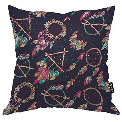 Moslion Funda de cojín con diseño de atrapasueños Plumas Coloridas y Lunares de 16 x 16 Pulgadas, de Lino y algodón, Cuadrada, para sofá o Cama