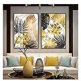 xwwnzdq 2 Pezzi d'oro e Nero Foglia su Tela Dipinto Poster e Stampa Moderna Decorazione di Arte della Parete Immagini per Soggiorno Camera da Letto Sala da Pranzo