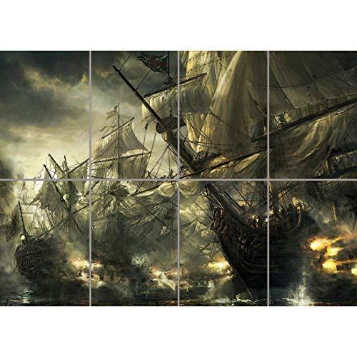 BATTLE SHIPS PIRATE BOAT WAR AFICHE CARTEL IMPRIMIR CARTELLO POSTER ART PRINT GIANT LARGE WA014