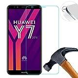 Lusee 2 x Pack Verre Trempé Protège pour Huawei Y7 2018 5.99 Pouce RÉSISTANT Indice Dureté 9H 2.5D 0,3mm (Couvrir Uniquement la Partie Plate)