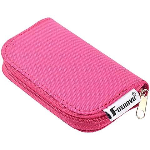 Foxnovo 22-slot SD SDHC MMC CF Micro SD Memory Card titolare Pouch caso con zip deposito borsa Protector (roseo)