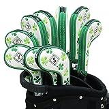 Craftsman Golf 9(5,6,7,8,9, A, P, S, X) Clover Shamrock Weiß Golf Eisen Golfschläger Head Cover Set passend für rechts und linkshänder mit Reißverschluss für Taylormade Callaway Titleist Cobra