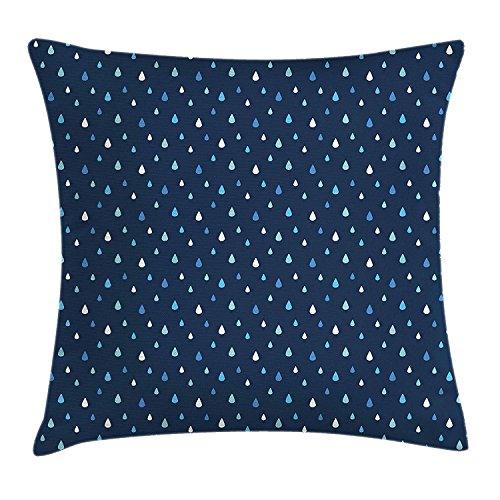 ZMYGH Indigo Throw Pillow Cushion Cover, Cartoon Like Water Rain Drops on Dark Blue Backdrop, Decorative Square Accent Pillow CaseWhite Navy Blue Light Blue and Turquoise 18x18inches -
