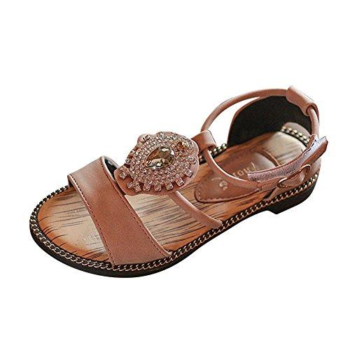 Sandalias Niña Verano Sandalias Romanas de Niña Bebé de Flores Zapatos de Princesa Zapatos Planos Zapatilla de Niñas de Playa Zapatos de Cuna Chica Rosado 35