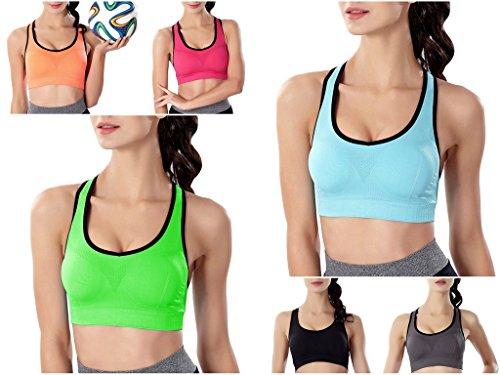 Smile YKK Soutien-gorge Femme Bra de Sport Yoga Fitness brassière Push Up Sans Armature Rembourré Vert