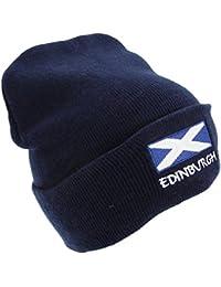 Mens Scotland Edinburgh Embroidered Flag Design Winter Beanie Hat