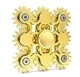 Edler Fidget Spinner 9 Zahnräder aus Metall lange Drehzeit bis 5 min + Metallbox Hand Toy Finger Spielzeug (gold)