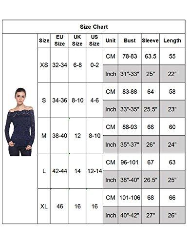 MODETREND Donna 2 pezzi Maglietta Pizzo Floreale Bluse in Lace Scollatura a Barca Camicetta Maglie a Maniche Lunghe Camicia Tops Bianco