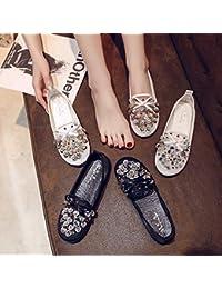 Sandalias de verano para estudiante coreano de malla con diamantes de imitación, zapatos de mujer, antideslizantes, resistentes al desgaste (color: forma de flor, blanco)