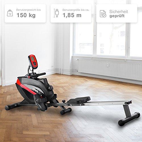 SportPlus Rudergerät für zu Hause, klappbar, TÜV geprüft, leises Magnetbremssystem, kugelgelagerter Rudersitz, Trainingscomputer, Nutzergewicht bis 150 kg, Sicherheit geprüft